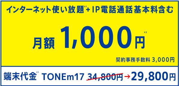パケット使い放題+通話基本料 月額1,000円 契約事務手数料3,000円